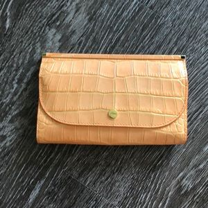 NWOT Abas Leather Clutch Croc Wallet Clutch